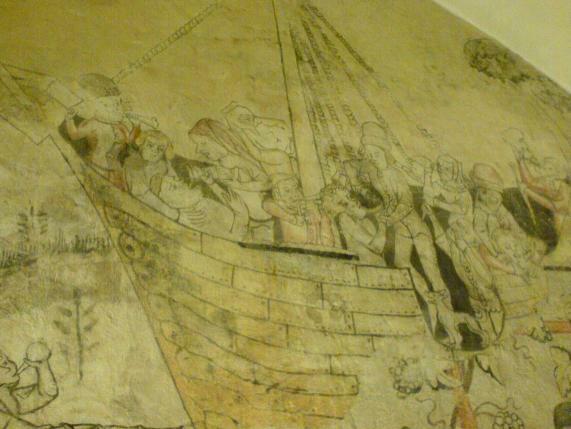 Schiffsleben, mittelalterliche Wandzeichnung, Rathaus Wismar / Kellergewölbe