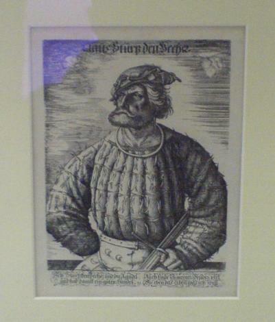 angebliches Portrait Klaus Störtebeckers, Reproduktion nach einer Radierung von 1515, Stadtmuseum Wismar