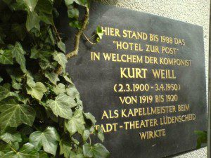 Gedenktafel Kurt Weill in Lüdenscheid