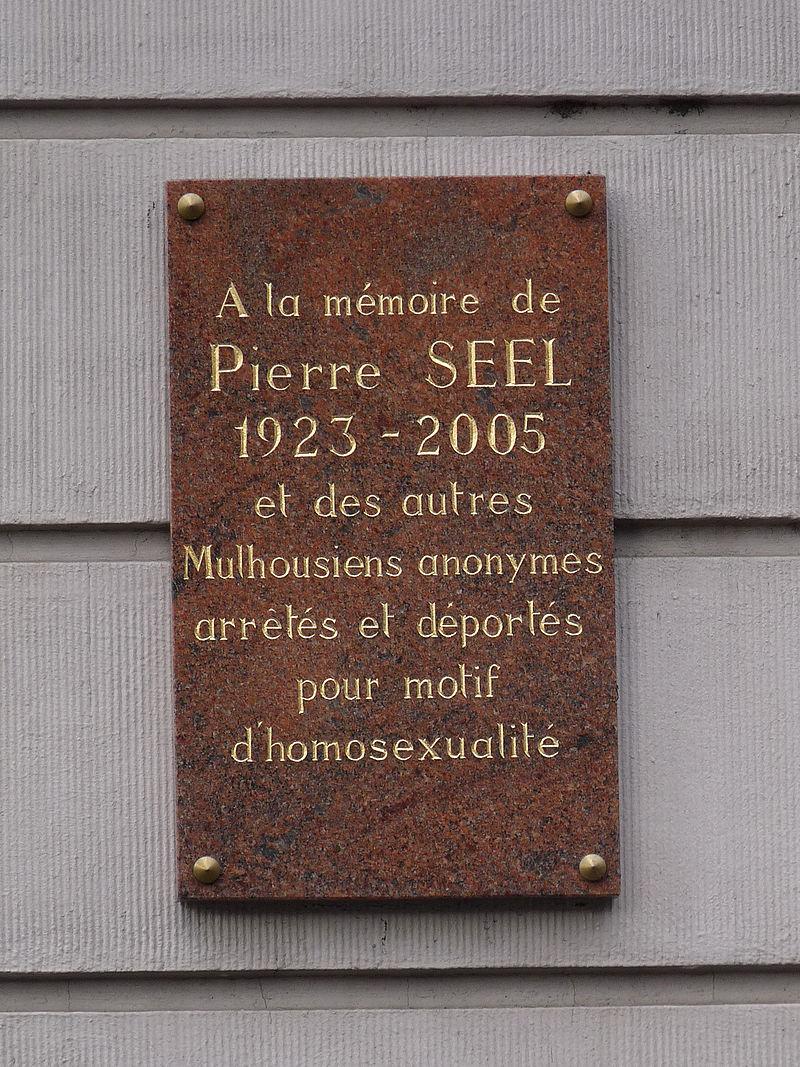 Gedenk-Plakette für Pierre Seel in mulhouse (Foto Ji-Elle; Lizenz cc by-sa 3.0)