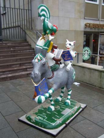 Bremen Stadtmusikanten im 'Werder-Look'