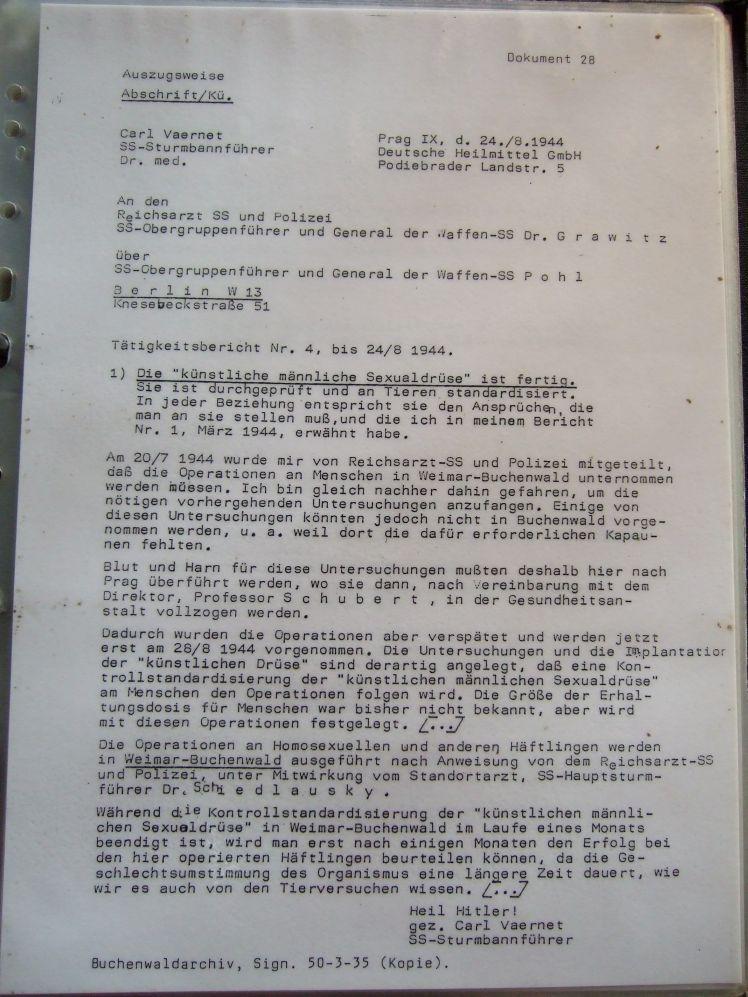 """Carl Vaernet 24.8.1944 """"Die künstliche männliche Sexualdrüse ist fertig"""""""