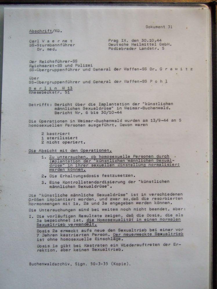 """Carl Vaernet 30.10.1944 """"Die Operationen in Weimar-Buchenwald wurden ... ausgeführt."""""""