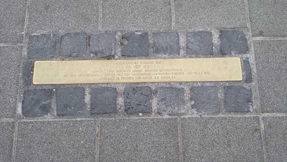 Mordaktion T4 - Gedenktafel Stralsund Hauptbahnhof