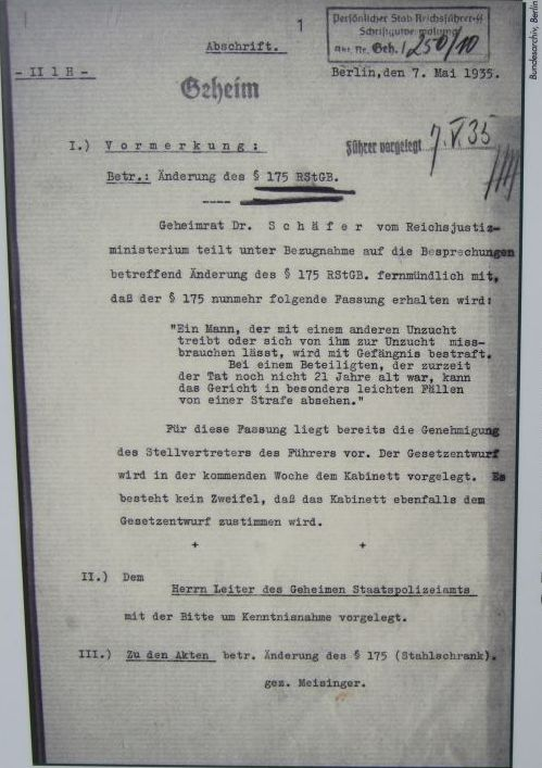 Neufassung des §175 - Aktennotiz Josef Meisinger vom 7.5.1935