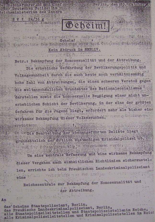 Geheimbefehl Himmlers zur Errichtung der 'Reichszentrale zur Bekämpfung der Homosexualität und Abtreibung'
