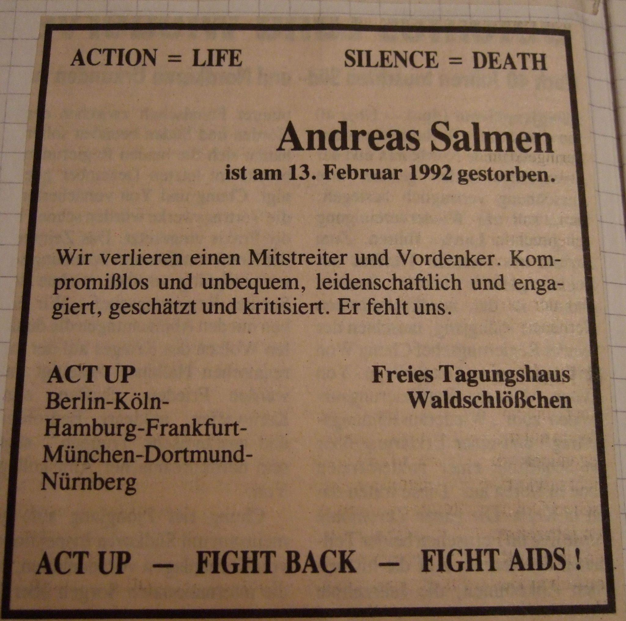 Andreas Salmen - Traueranzeige der ACT UP Gruppen in Deutschland