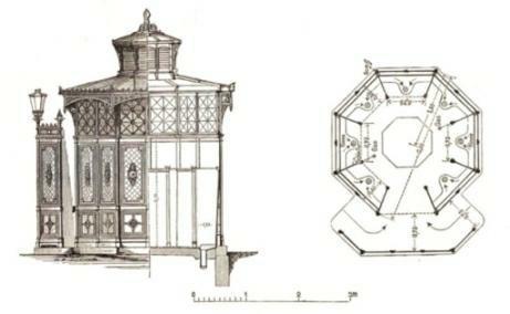 Prototyp einer Klappe : Café Achteck, Aufriss/Schnitt und Grundriss, aus Berlin und seine Bauten (1896)