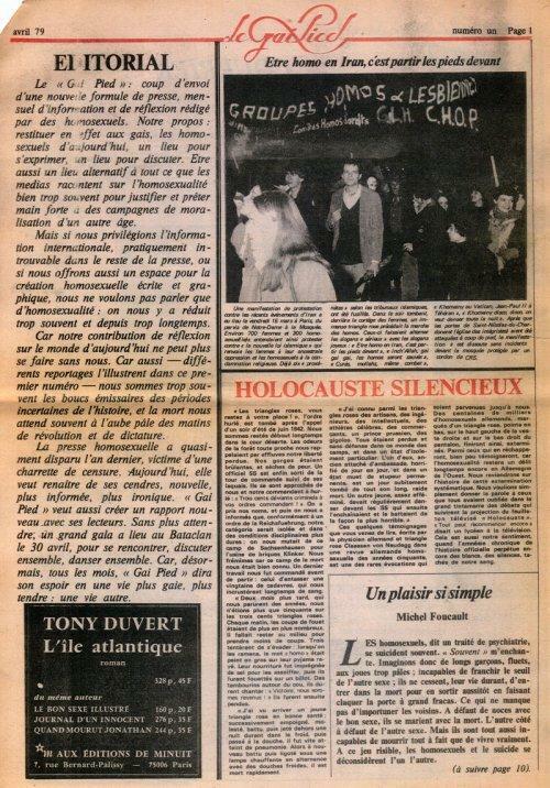 Seite 1 der ersten Ausgabe des Gai Pied, April 1979, mit Kommentar von Michel Foucault