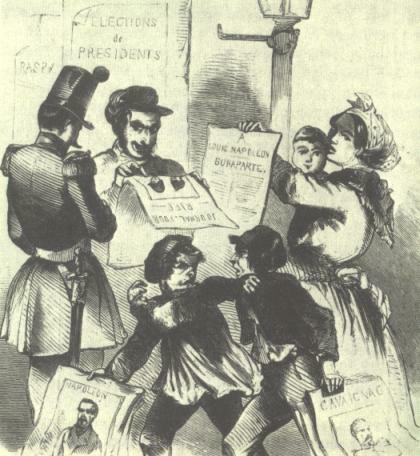 Präsidentschafts-Wahlkampf in Frankreich 1848, Holzschnitt, 'Illustrierte Zeitung', 1848