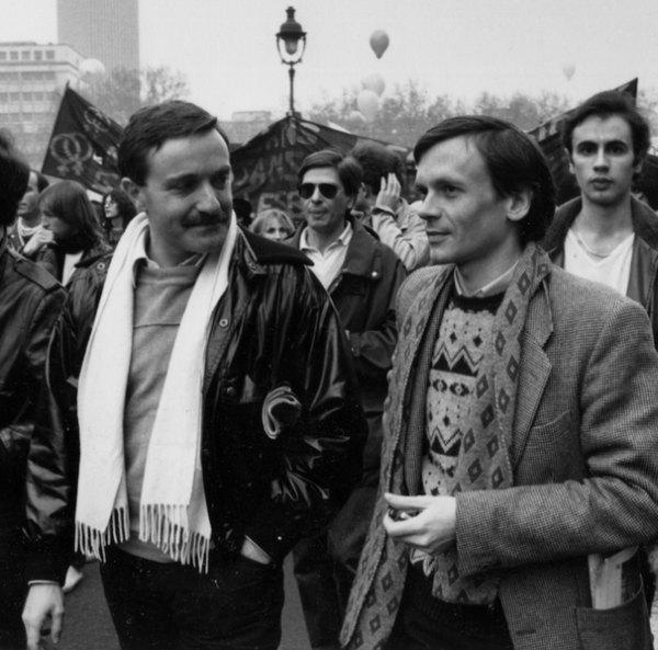 Yves Navarre und Jean Le Bitoux in Paris bei der Demonstration für Lesben- und Schwulen-Rechte, 4. April 1981 (Foto: © ClaudeTruong-Ngoc)