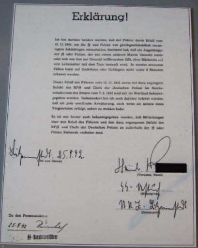 Belehrung SS und Polizei zur Bestrafung homosexueller Handlungen mit dem Tod, 1942