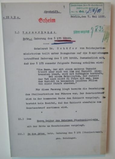 1935: Änderung §175, Aktennotiz Josef Meisinger