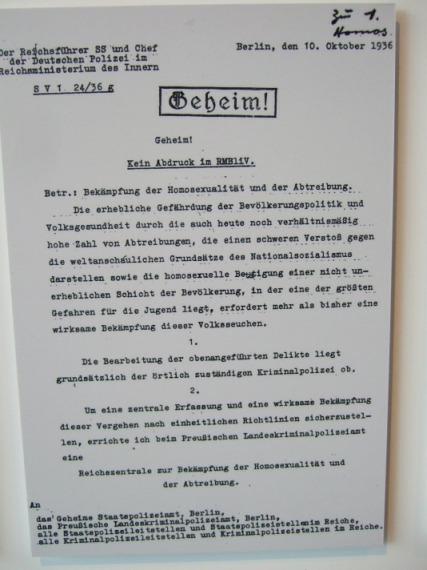 Erlass Himmlers zur Errichtung der 'Reichszentrale zur Bekämpfung der Homosexualität und Abtreibung', 10.10.1936, Auszug