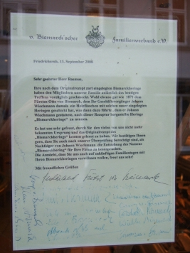 Bismarck-Hering Danmschreiben - Bismarcks danken 2008 wegen des Herings