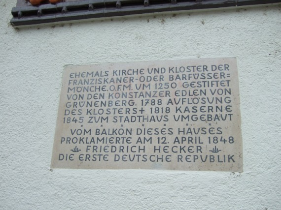 Konstanz, Gedenktafel für Friedrich Hecker