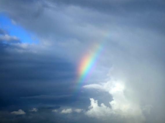 Regenbogen über dem Strand von Lacanau