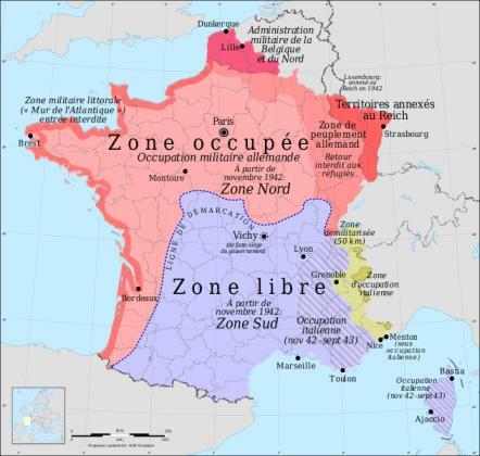 Frankreich zur Zeit der Besetzung durch die Deutschen / Verlauf der Demarkationslinie (Karte: wikimedia / Eric Gaba, Rama)