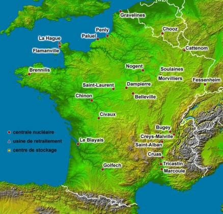 Atomstrom Frankreich : Anlagen Stand August 2006, Grafik Eric Gaba / Sting