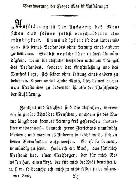 Immanuel Kant, Beantwortung der Frage: Was ist Aufklärung