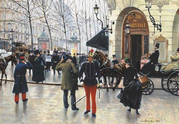 Jean Béraud: Le boulevard des Capucines et le théâtre du Vaudeville (1889)