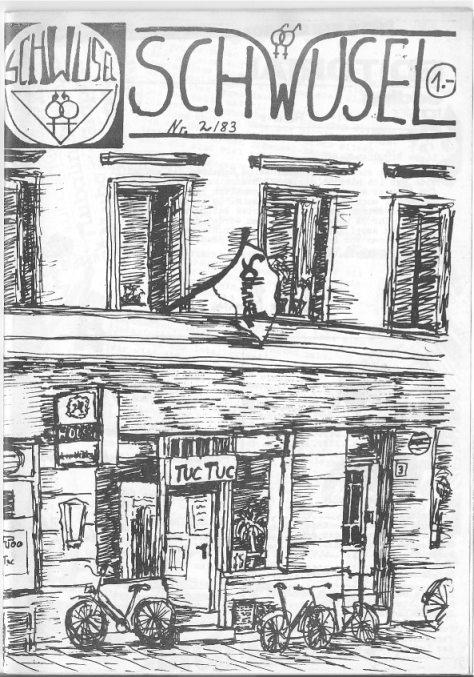 Schwusel trifft sich über'm Tuc Tuc (Schwusel Nachrichten 2/1983, Grafik Martin D.)