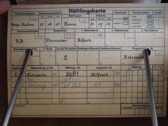 """'Häftlingsart Homo."""" - Häftlingskarte, KZ Neuengamme"""