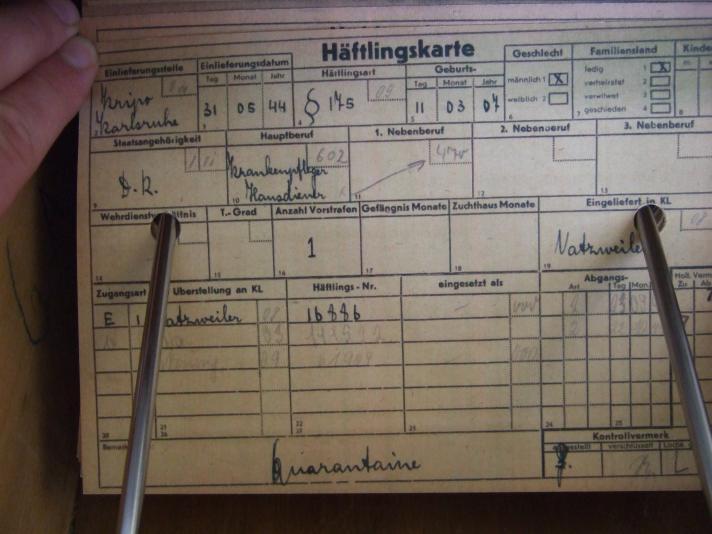"""'Häftlingsart § 175"""" - Häftlingskarte, KZ Neuengamme"""
