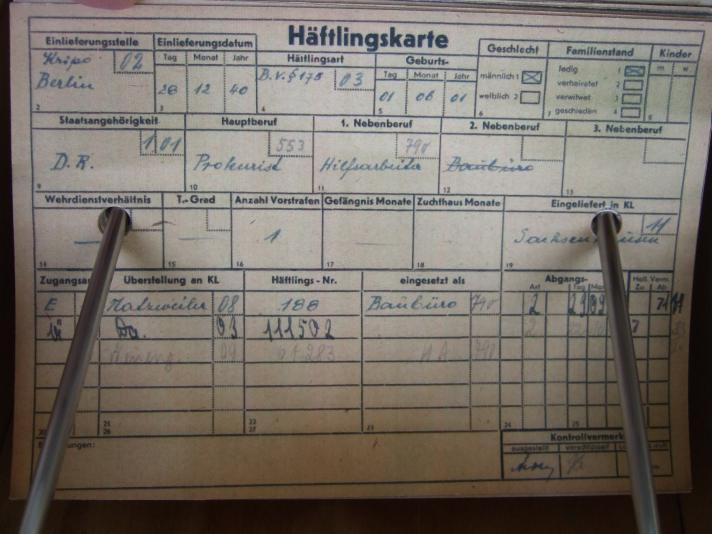 """'Häftlingsart B.V. § 175"""" - Häftlingskarte, KZ Neuengamme"""