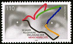 Deutsche Post: Briefmarke '50 Jahre Erklärung der Menschenrechte' (1998)