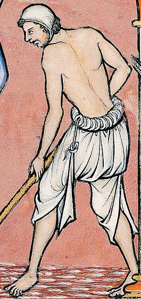 Brouche, Vorläufer der Unterhose im Mittelalter (hier: Grafik aus der Maciejowski-Bibel, 13. Jhdt.; public domain)