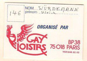 Gay Loisirs 1983, Eintrittskarte