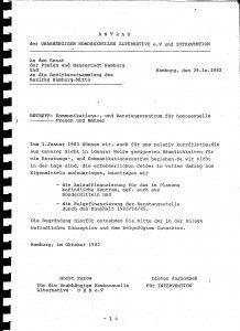 Magnus-Hirschfeld-Zentrum (MHC) Antrag UHA & Intervention, Hamburg 1982, Seite 1