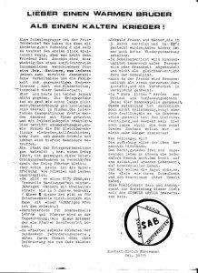 SAB Schwule Aktion Bremerhaven, Flugblatt, Herbst1981
