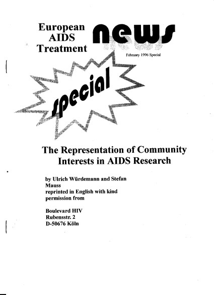 The Representation of Community Interests in AIDS Research, Würdemann/Mauss, EATN 1996