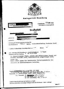 Homosexuellenverfolgung nach 1945 in Hamburg: Strafbefehl des Amtsgerichts Hamburg / Benutzungsverbot der Klappe Spielbudenplatz, Hamburg (Quelle: [1])