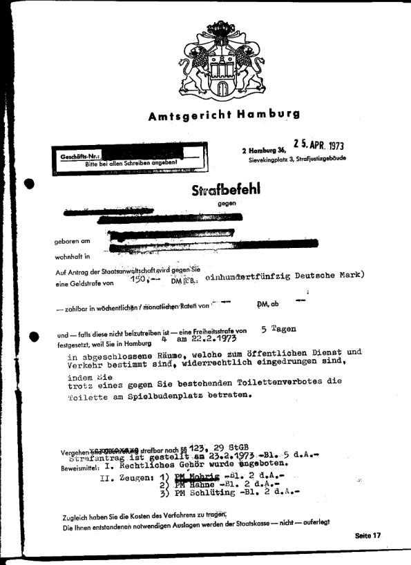 Strafbefehl des Amtsgerichts Hamburg: Benutzungsverbot der Klappe Spielbudenplatz, Hamburg (Quelle: [1])
