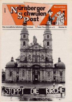 ACT UP Proteste im Dom zu Fulda / Titel der Nürnberger Schwulenpost November 1991 (© NSP)
