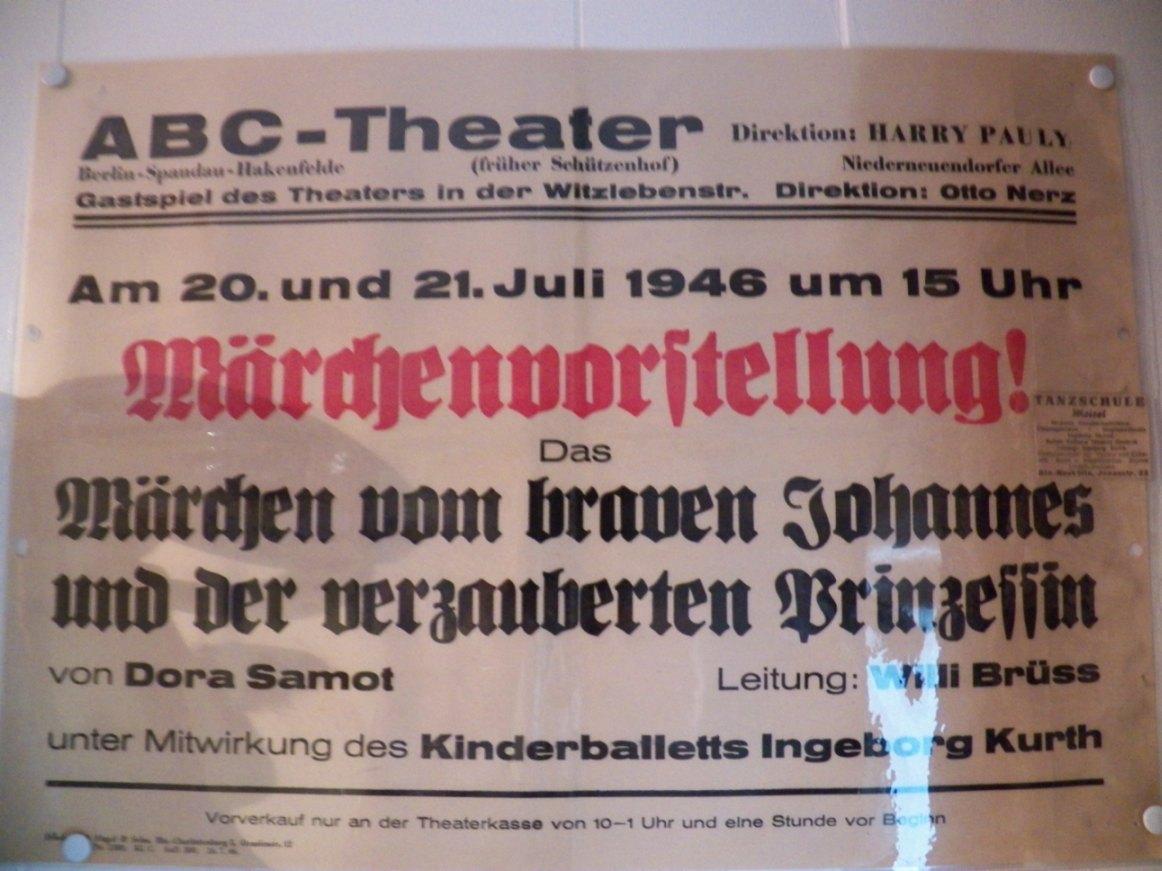 ABC-Theater Spandau 1946 Direktion Harry Pauly (Foto: Gerald Müller)