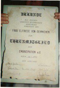 SCHULZ Eröffnung am 16. März 1985, Ehrenmitgliedschaft Frau von Oehmichen