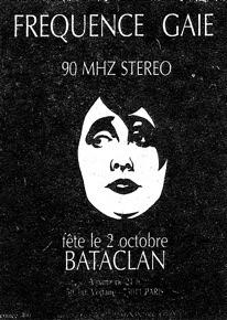 Fréquence Gaie Plakat für eine Benefiz-Fete 1981 im Bataclan