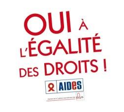 Oui à l'égalié des droits - Gleiche Rechte für alle, Plakat von Aides ((c) Aides)