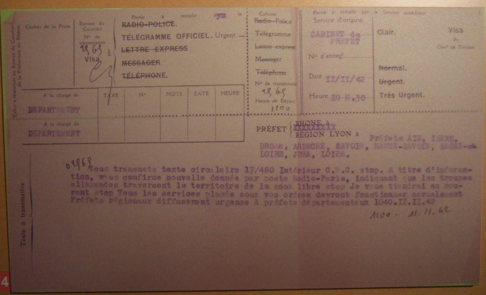 Die Invasion der 'freien Zone' 1942 wird mit offiziellem Telegramm bekannt gegeben