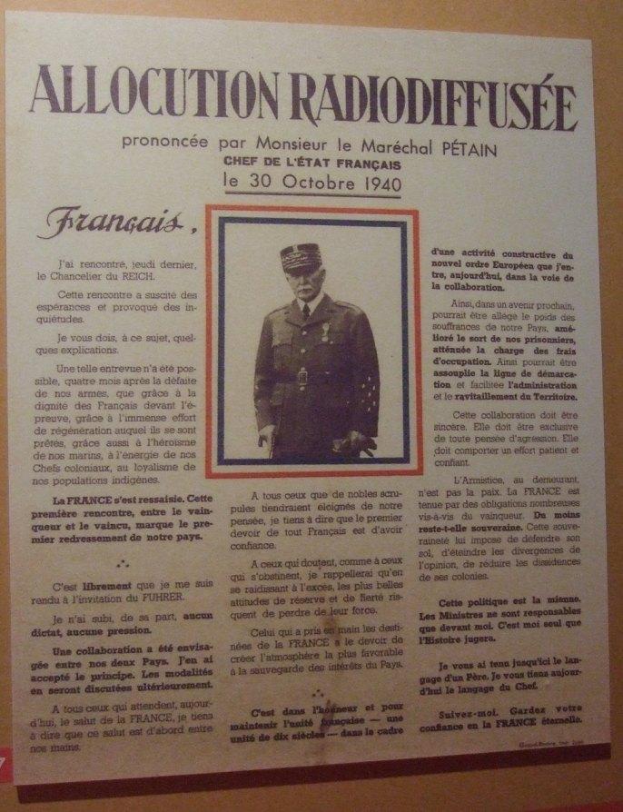 Öffentliche Bekanntmachung Petains über sein Treffen mit Hitler