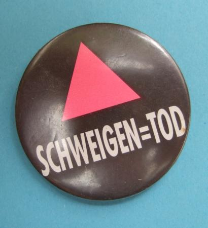 Schweigen = Tod, ACT UP Button, ca. 1990