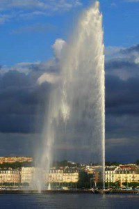 hier wurde es erstmals umgestezt, das Genfer Prinzip (Fontäne am Genfer See; Foto: Michel Bobillier / athos99)