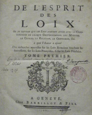 Vom Geist der Gesetze, Montesquieu, Titelblatt der Erstausgabe