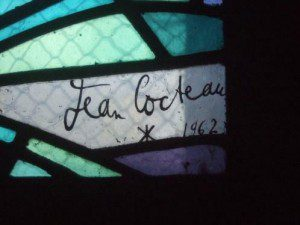Cocteau Fenster in Saint Maximin, Signatur Cocteaus