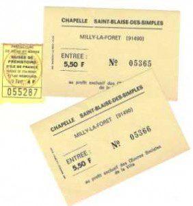Milly-la-Foret mit Julien / die damaligen Eintrittskarten