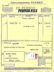 Pernod Pastis Rechnung, 1940